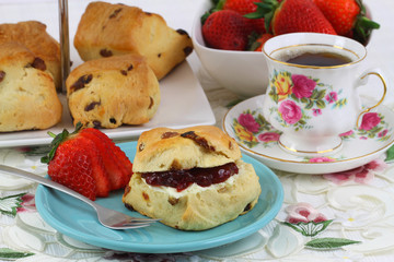 English cream tea with scones and strawberries