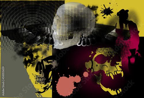 skull art and rock