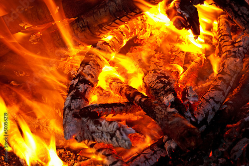 canvas print picture Embers glowing in blazing fire