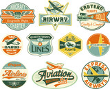 Aviation vector vintage labels collection