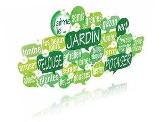 nuage de mots bulles 3d : jardin