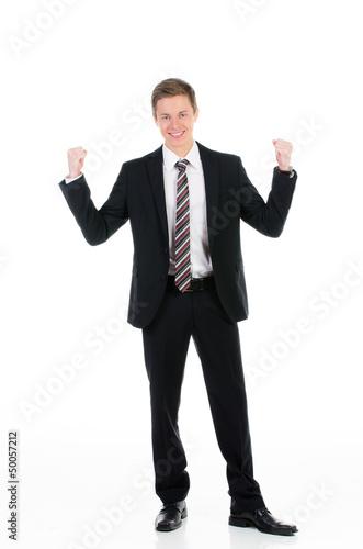 kaufmann ballt freudig die fäuste