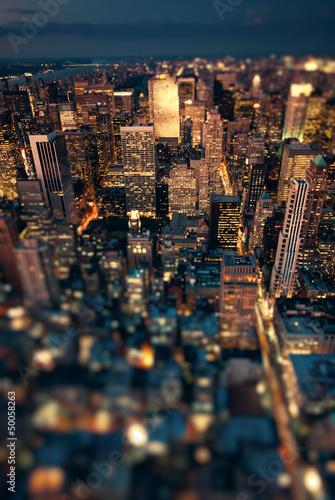 canvas print picture New York Manhattan at night with soft focus