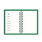green notebook weekly planner