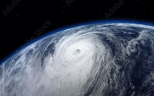 Storm typhoon, satellite view