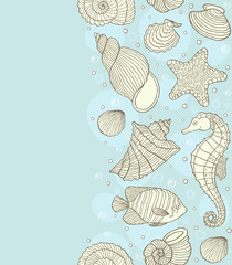 seamless pattern with ocean shells