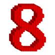 8 数字 赤 3D