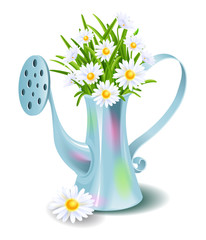 Garden watering can  with grass and daisies