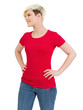 Cute happy female with blank red shirt