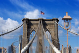Brooklyn Bridge and American flag poster