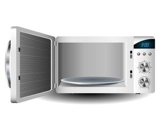 Microwave oven with open door
