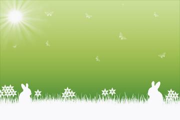 Osterhintergrund mit Hasen, Blumen und Schmetterlingen