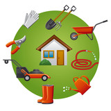 garden tools icon set