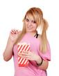beautiful teenage girl eat popcorn