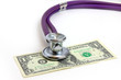 stethoscope doctor and dollars as illustration pay medicine