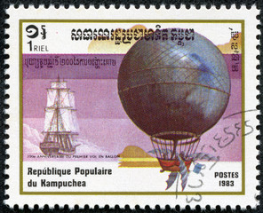 Stamp printed in CAMBODIA shows a hot air balloon