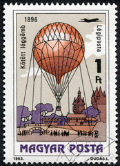 stamp printed in Hungary, shows Kite Balloon, 1896