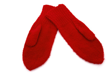 Old fashion red mittens
