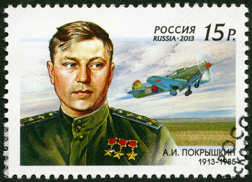RUSSIA - 2013: The 100th birth anniversary of A.I. Pokryshkin