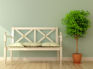 Bench and plant
