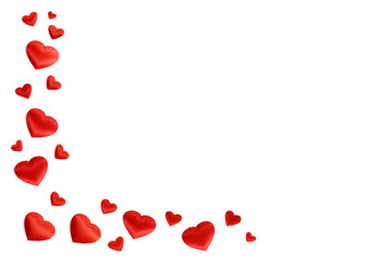 white background with red hearts satin_III