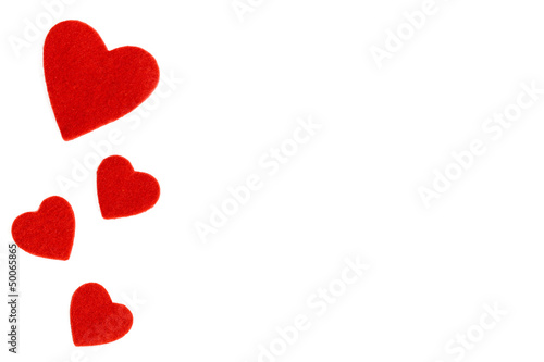white background with a heart of felt