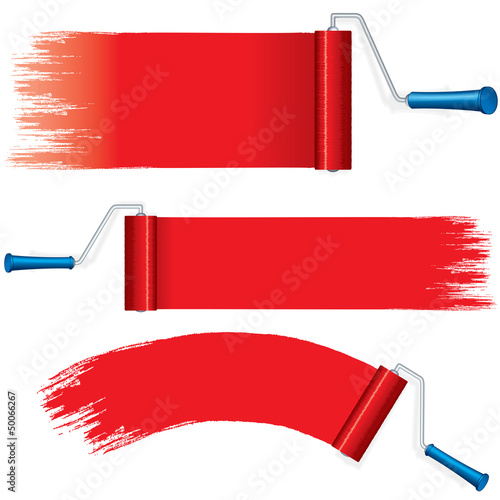 Red Roller Brush Painting Strokes on Wall. Vector