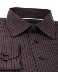 A new brown pinstriped dress shirt
