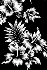 Hawaiian patterns, black and white tone.