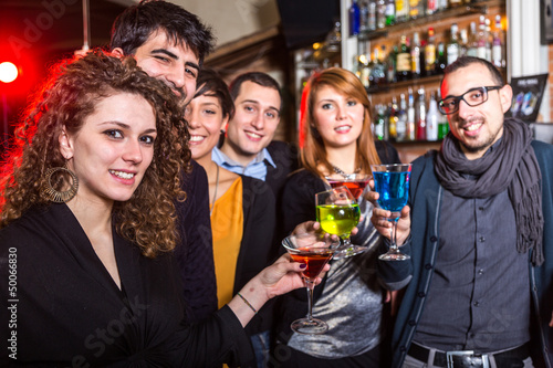Group of Friends in a Night Club