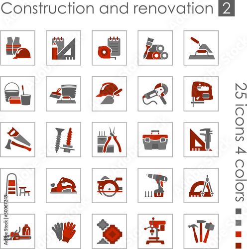 Constraction and renovation icons 2 (Red)