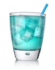 Blue cocktail in a glass isolated