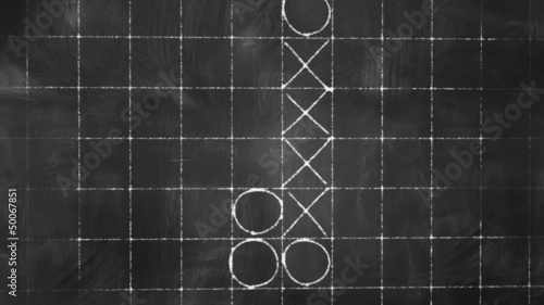 tick tack toe game on blackboard animation