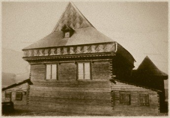 Retro wooden synagogue  in Zabludow, Poland