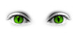 Yeux verts femme-chat, fond blanc