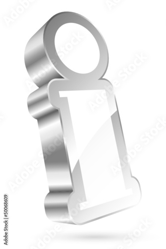3D Information Icon White/Silver