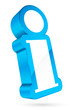 3D Information Icon White/Light Blue