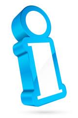 3D Information Icon White/Light Blue