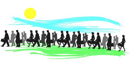 illustrazione di persone in cammino verso il lavoro
