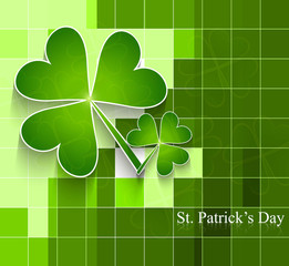 St. Patrick's Day bright colorful green leaf mosaic background v