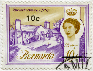 BERMUDA - 1962: shows Bermuda Cottage, 1705