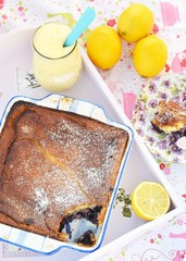 blueberry cobbler with lemon  curd