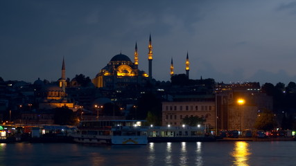The Suleymaniye Mosque in the late evening