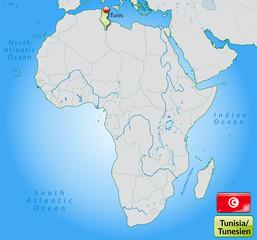 Übersichtskarte von Tunesien mit Landesflagge