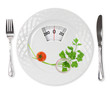 Cherry tomato, parsley and onion in a plate with weight scale