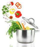 Fototapety Fresh vegetables falling into a stainless steel casserole pot