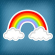 stylish background with clouds and rainbows