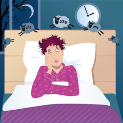 Middle age woman with insomnia counting sheep