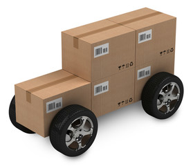 Cardboard boxes, delivery concept, isloated