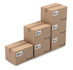 Cardboard boxes stack isolated on white background